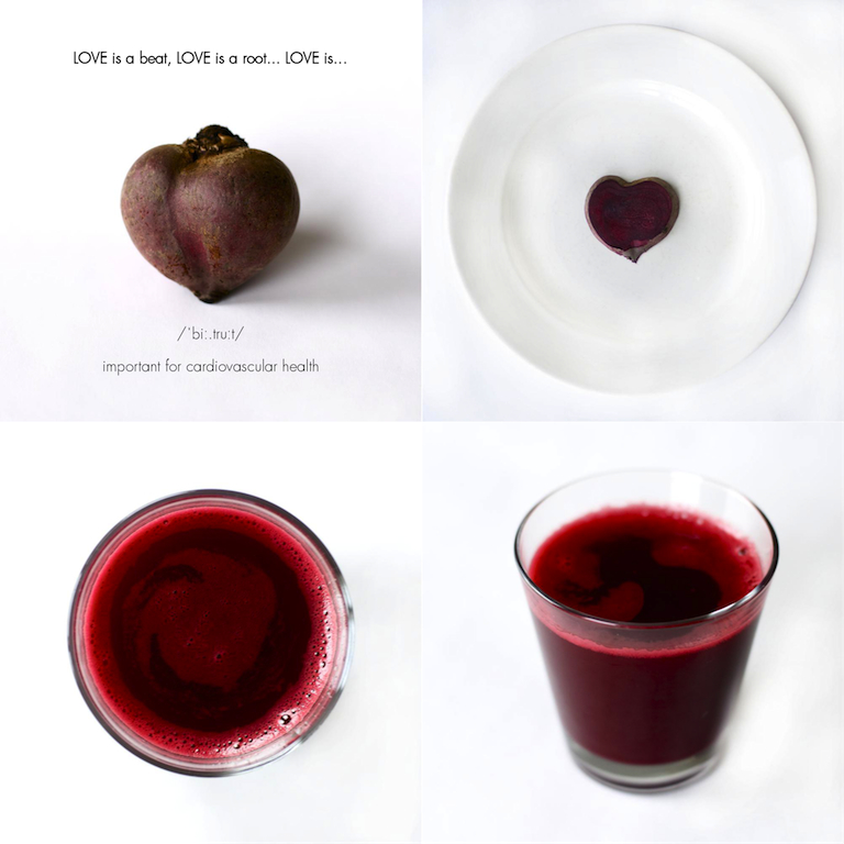Beetroot heart, slice and juice
